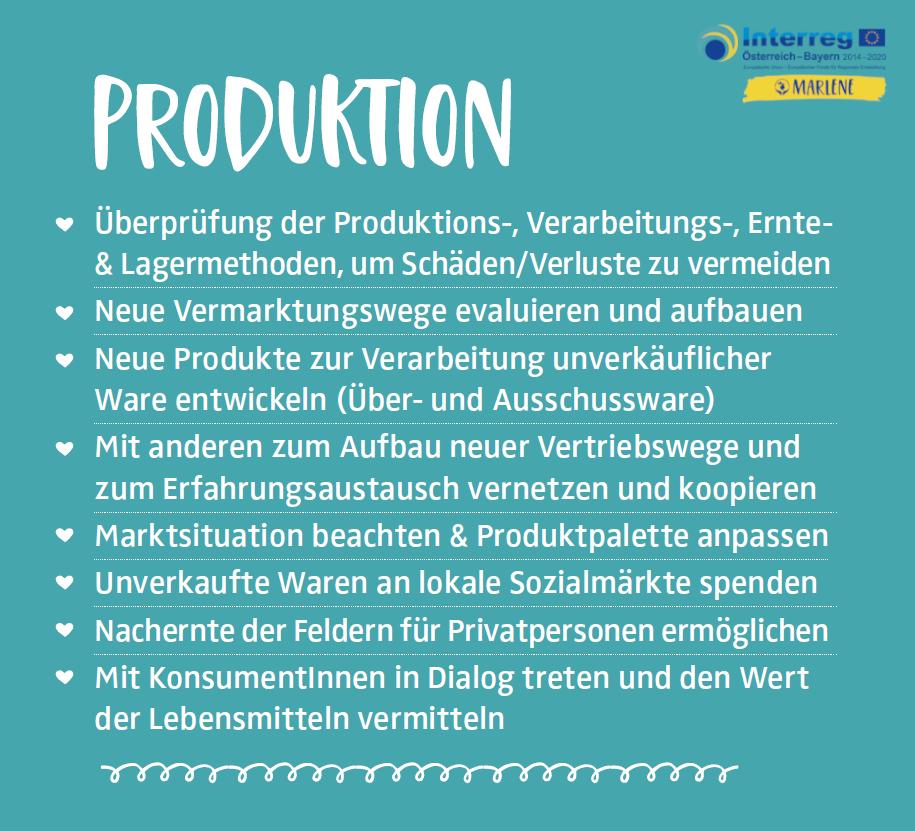 Handlungstipps Lebensmittelabfallvermeidung Produktion